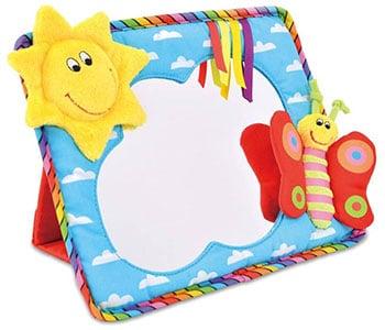 spiegel voor baby met lachende zon en vlinder