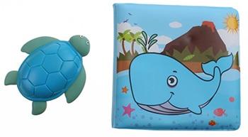 blauw groen badboekje en schildpad voor kinderen