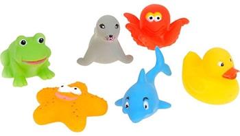 meerkleurige baddiertjes voor kinderen voor in bad
