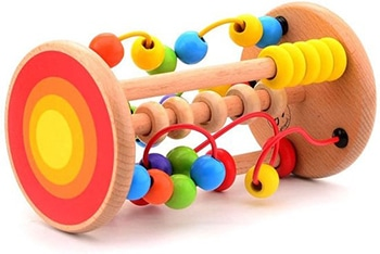 meerkleurige houten rollende kralenbaan van Jouéco
