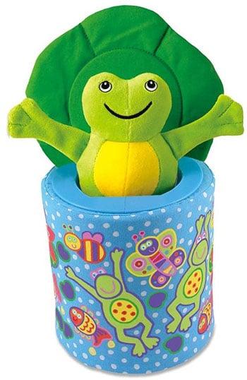 blauw/groene kikker in een doosje voor kinderen