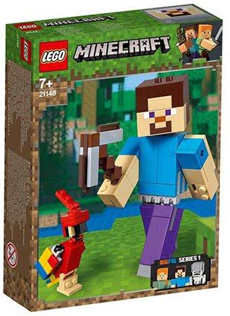 LEGO Minecraft BigFig Steve met papegaai 21148