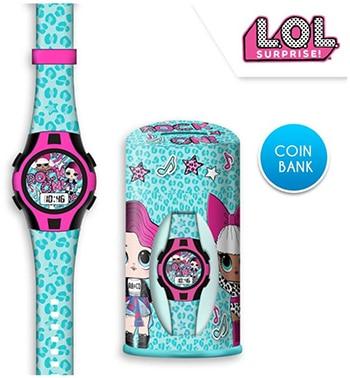 meerkleurig digitaal horloge en spaartpotje van L.O.L. Surprise!