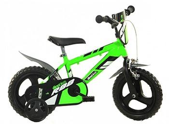 groen zwarte jongensfiets met zijwieltjes van Dino