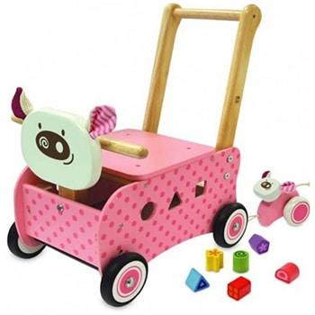 roze speelgoed loop/duwwagen in varkentjesvorm