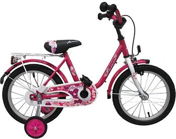 roze meisjesfiets met zijwieltjes en terugtraprem