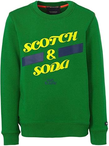 scotch & soda amsterdams blauw sweater met tekst felgroen