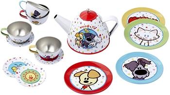 meerkleurig tinnen speelgoed theeservies van Woezel & Pip