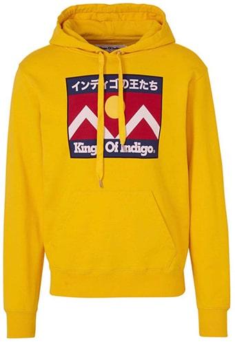 kings of indigo hoodie van biologisch katoen geel