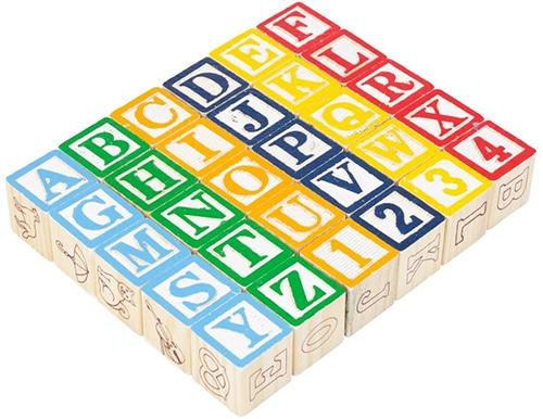 Brieven & cijfers houten blokken