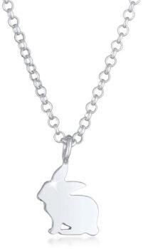 Elli zilveren halsketting van konijn